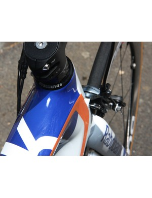 The top tube and down tube are both notably wider than the head tube for extra front triangle torsional stiffness