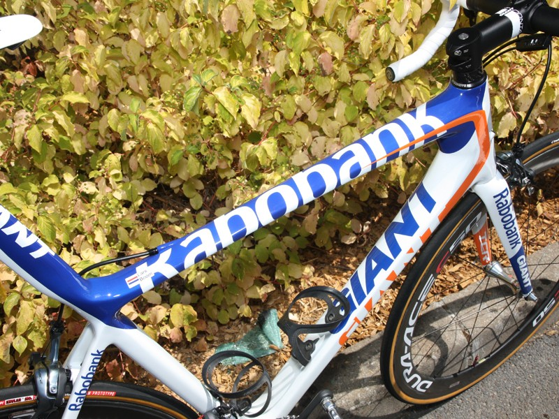 The wide top tube provides plenty of surface area for an enormous Rabobank logo