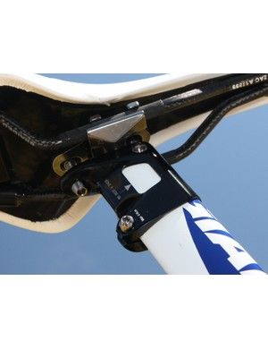 Braided carbon rails are mated to a reinforced nylon shell on Lars Boom's (Rabobank) Fi'zi:k Antares saddle