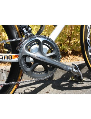 Lars Boom (Rabobank) uses a standard Shimano Dura-Ace crank and aluminum-bodied SPD-SL pedals