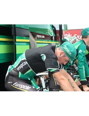 Some Europcar riders used ice vests to keep cool while warming up for Stage 2's team time trial