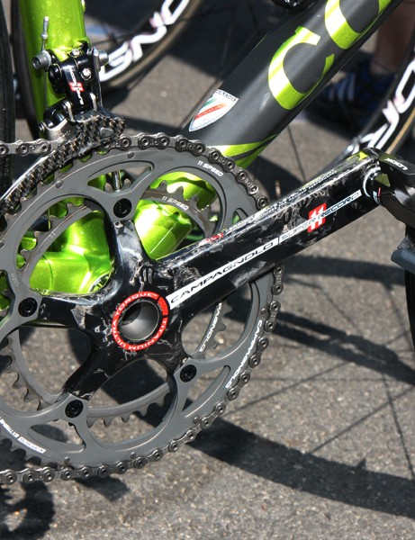 A Campagnolo Super Record crank is fitted to Thomas Voeckler's (Europcar) Colnago C59 Italia