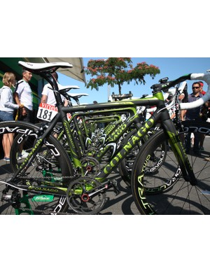 Europcar are using these fetchingly understated Colnago C59 Italia machines at this year's Tour de France. Team captain Thomas Voeckler is using a special yellow version at the moment, though