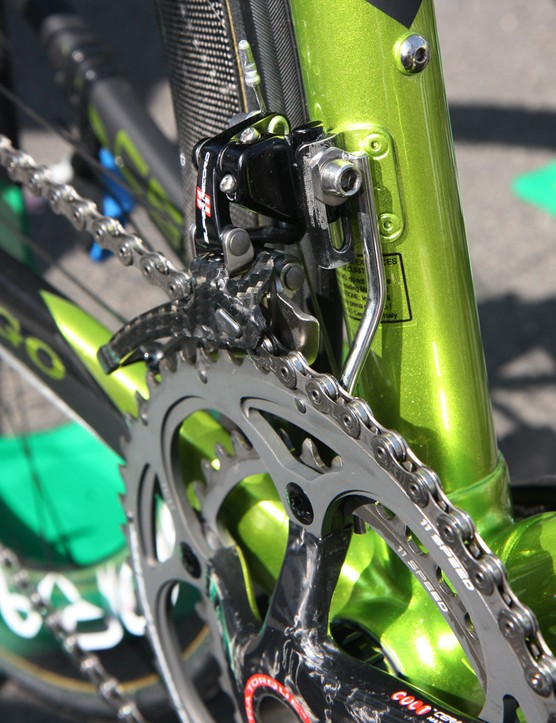 Europcar team bikes are equipped with these chromed steel chain watchers