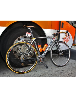 Euskaltel-Euskadi captain Samuel Sanchez gets this specially decorated Orbea Orca to celebrate his 2008 Olympic gold medal