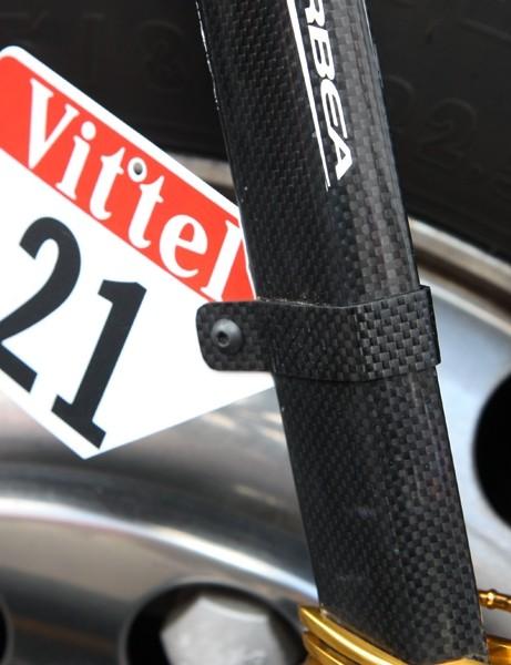 Euskaltel-Euskadi team bikes are fitted with these trick custom number holders