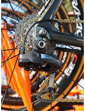 Euskaltel-Euskadi's Samuel Sanchez dresses his Orbea Orca up with lots of bling