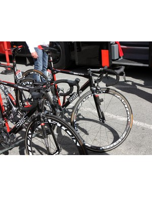 Cadel Evans' (BMC) BMC Teammachine SLR01 is lined up with the others before hitting the start line at the Tour de France