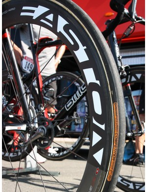 BMC team bikes are outfitted with a variety of Easton carbon tubular wheels and Continental tires