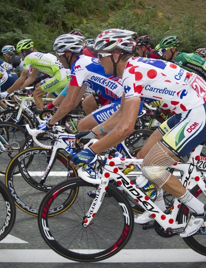 Hoogerland has a polka dot bike to go with his jersey