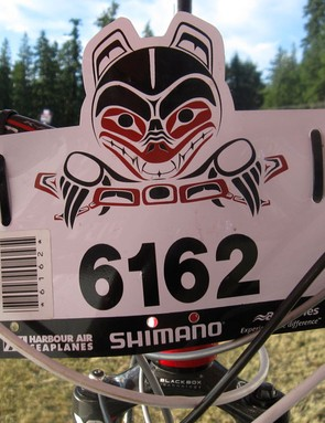 . The iconic BC Bike Race number plate complete with bar code to keep track of riders