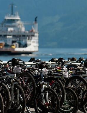 Bikes, which traveled on an earlier ferry, await the arrival of riders