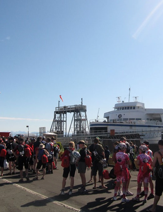 Racers cue up for a ferry ride to the Sunshine Coast
