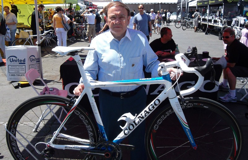 Colnago and his C59 Italia 150th limited edition Shimano Di2 bike; only 150 were made for sale