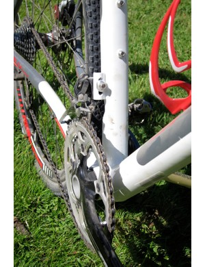 Specialized use a braze-on front deraileur mount so that they can shape and flare the seat tube