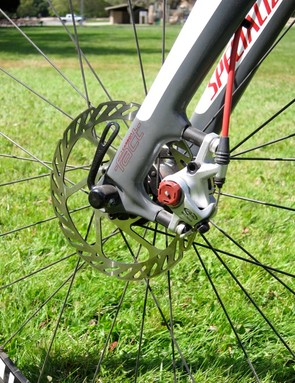 The FACT disc fork comes with a 140mm direct mount that's spaced on the complete bike to accommodate a 160mm rotor