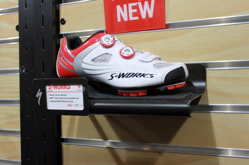 The women's Specialized S-Works race shoe has all the features of the men's model but with a female-specific last