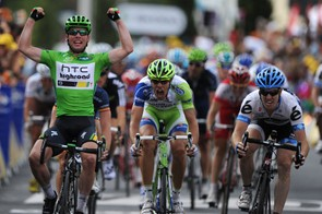 Farrar (R) didn't quite have the legs to beat Cavendish in Montpellier