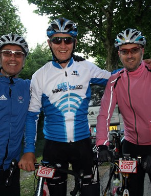 Scott (centre) and Rob (right) smile nervously ahead of La Marmotte