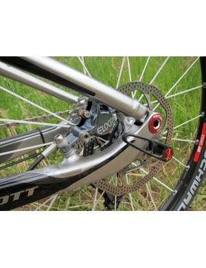 The 2012 alloy Scott Spark frame switches to post-mount rear brake tabs that are tucked safely inside the rear triangle