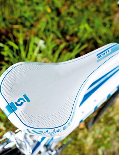 Rear comfort is assured with the Scott's women's specific own-brand saddle