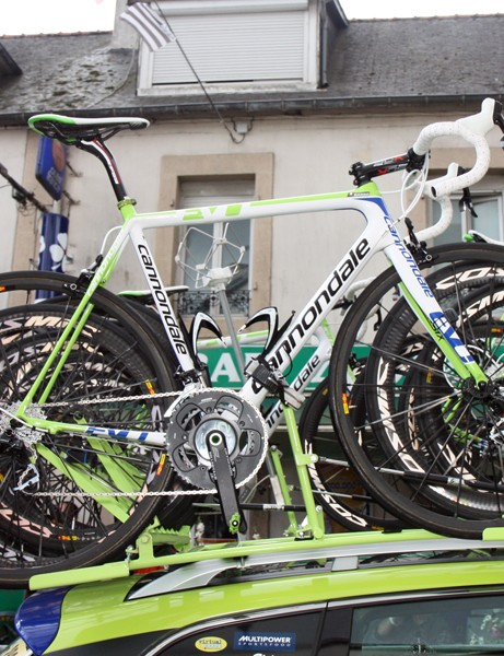 Ivan Basso's Liquigas-Cannondale SuperSix Evo sits safely tucked in between other team bikes - just like how it usually is out on the road.