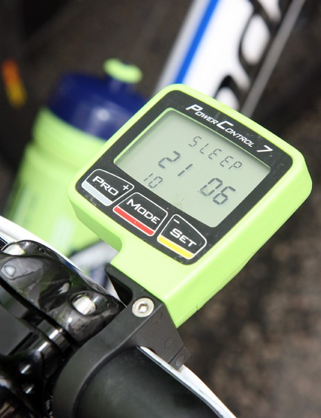 SRM provides the Liquigas-Cannondale team with custom-colored Power Control 7 computer heads.