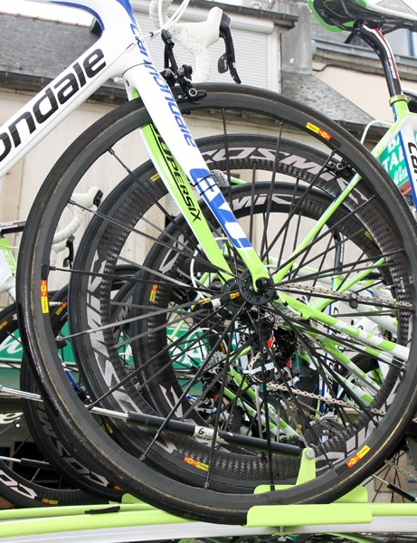 Liquigas-Cannondale riders have a wide range of Mavic wheels to choose from for each stage of the Tour de France.  Most of the time they opt for the versatile Cosmic Carbone Ultimate but wet days can call for aluminum-rimmed models with the new Exalith textured sidewalls for more predictable braking.