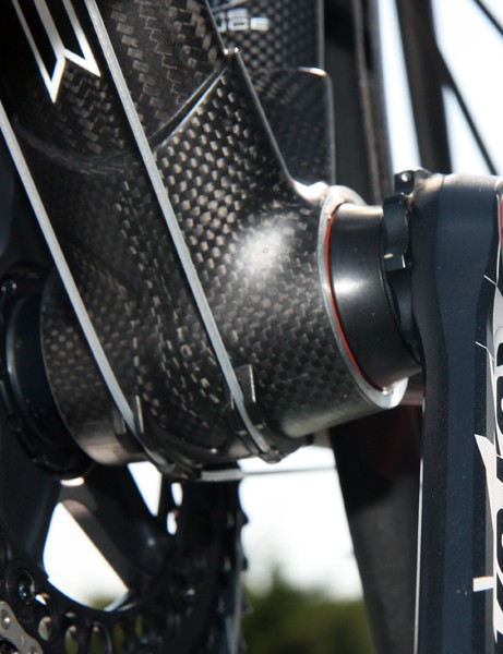 Saur-Sojasun's Rotor 3D+ cranks can fit in a number of different bottom brackets, including the BB30 ones on the team's Time RXRS Ulteam frames.