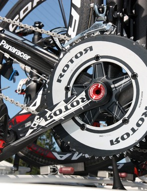 Rotor's 3D+ cranksets are on several teams' bikes this year but the elliptical Q-Rings are much more rare.