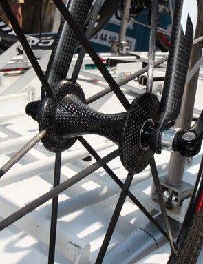 Saur-Sojasun's Corima wheels use carbon spokes anchored into carbon hubs.