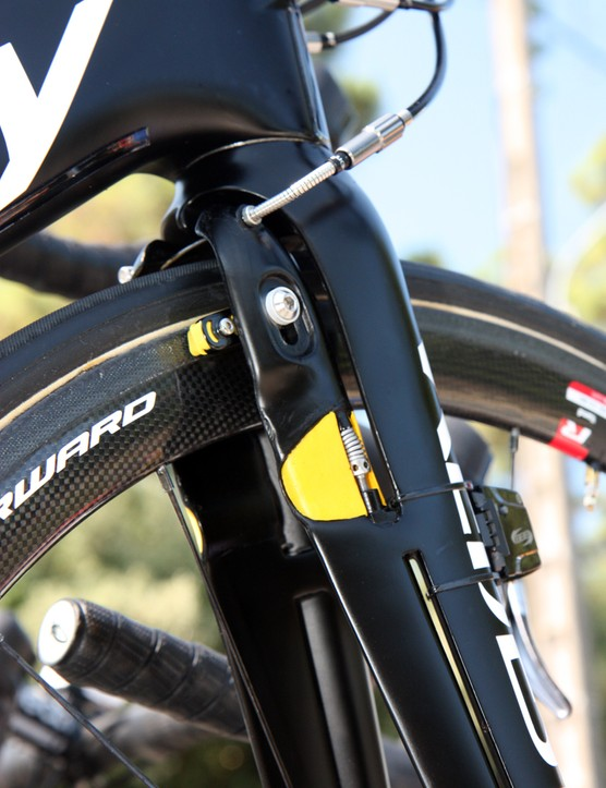 Vacansoleil-DCM's Ridley Noah Fast bikes use integrated front and rear brakes that are molded directly into the carbon structure.