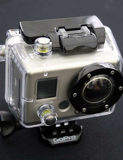 GoPro Helmet Hero camera, with the BacPac added