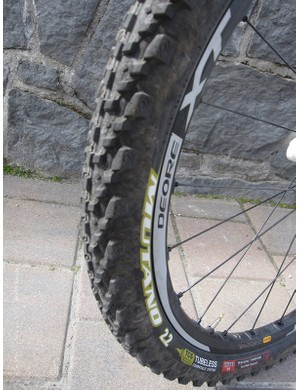 Shimano XT wheels mated to the ever-popular WTB 2.2 tubeless Mutano equaled a flat-free week in the B.C. woods
