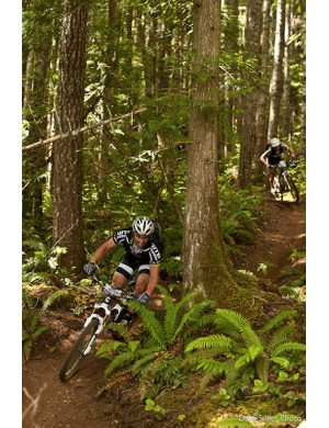 Weir charges through the B.C. woods during the 2011 BC Bike Race. He and teammate Jason Moeschler placed sixth in the open duo category