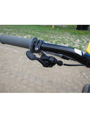 Gould uses Shimano's integrated shift lever option to reduce clamp clutter and weight