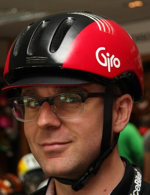 Madison's Stu Clapp models the new Giro Reverb road helmet