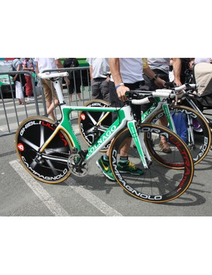 Europcar's Colnago Flight time trial machines are looking a little dated in comparison with many of the cutting-edge rigs being used by the rest of the peloton