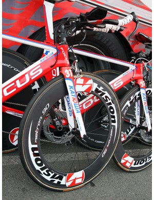 Vision's new Metron 90 carbon tubular front wheels are fitted to Katusha's time trial bikes