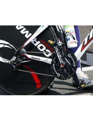 Some Saur-Sojasun riders have opted for Rotor's elliptical Q-Rings on their Time RXR time trial bikes