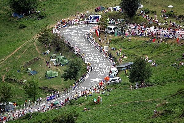 Dutch fans swarm on L'Alpe d'Huez ahead of stage 19 of the 2011 Tour de France