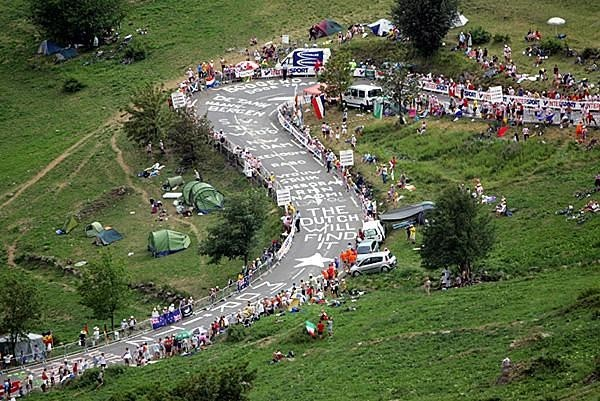 Dutch fans swarm on L'Alpe d'Huez ahead of stage 19 of the 2011 Tour de France
