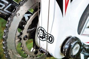 The massive down tube and BB30 bottom bracket will attract stares and rev up your ride