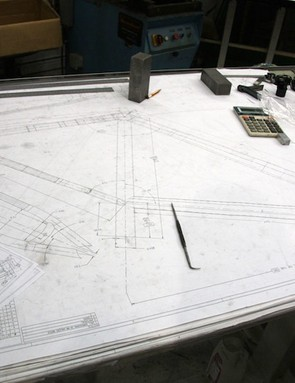 Life-sized CAD drawings such as this are used during the prototyping process to make sure frames are staying true to design during the welding process