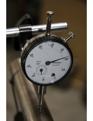 This deflection gauge lets Rocky engineers know how stiff their bike designs actually are
