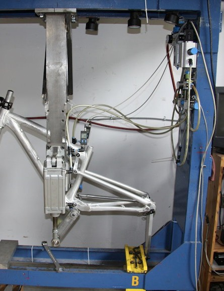 This fatigue testing machine allows Rocky Mountain to prototype faster. By putting frame iterations through their paces, engineers can tell where a bike is going to fatigue or fail, and then alter the design as necessary