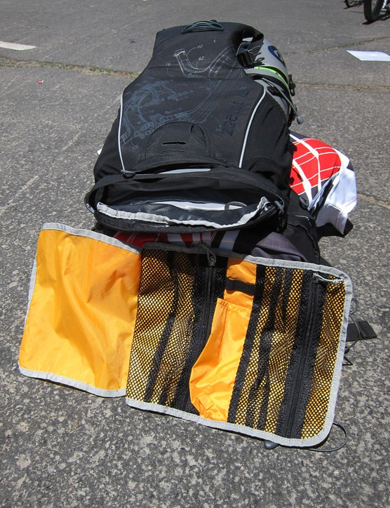An included tool wrap tucks into a dedicated compartment in the bottom of the Osprey Zealot pack