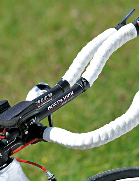 Bontrager bars and levers look good, but the position is cramped and constrictive and braking performance is poor