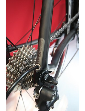 Elbowed all-carbon dropouts provide the exit point for the internally routed rear mech cable