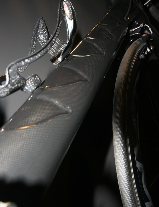 Sculpted down tube flame design on the Pinarello Graal